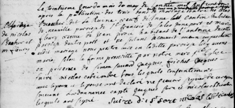Married in 1699, Jean Préau becomes Jean Prou at his widow's second marriage in 1712