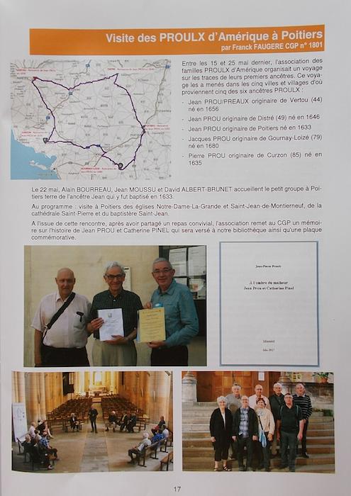 The Cercle généalogique de Poitiers remembers the travelers!