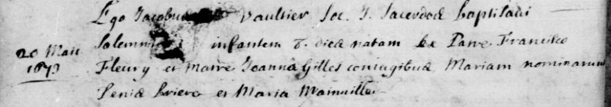 Nos aïeules: 5- Marie Fleury (1673-1752)