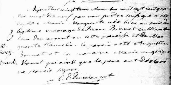 Nos aïeules: 6- Marguerite Brunet (1799 – après 1852)