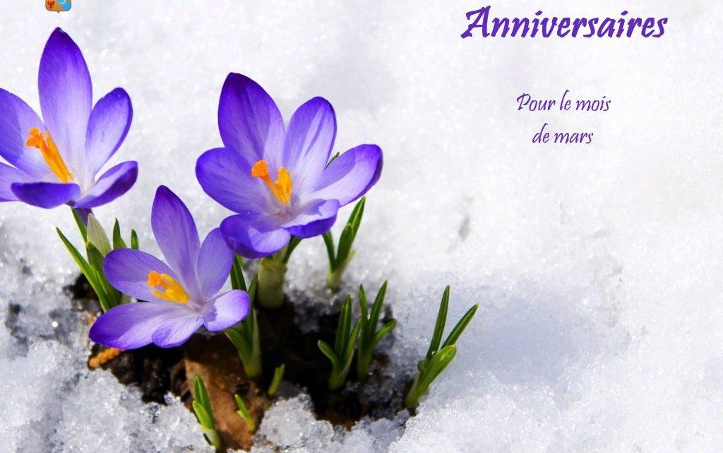 Joyeux anniversaire à tous nos membres nés en mars