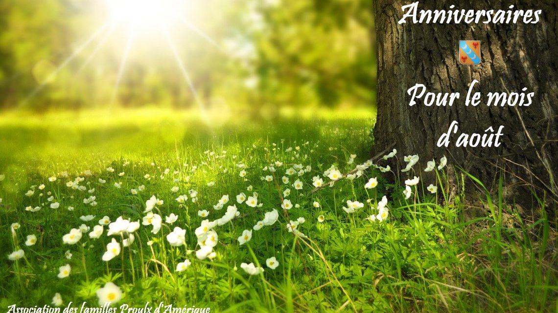 Joyeux anniversaire à tous nos membres nés en août