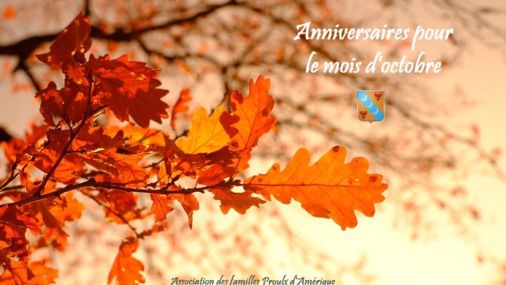 Joyeux anniversaire à tous nos membres nés en octobre